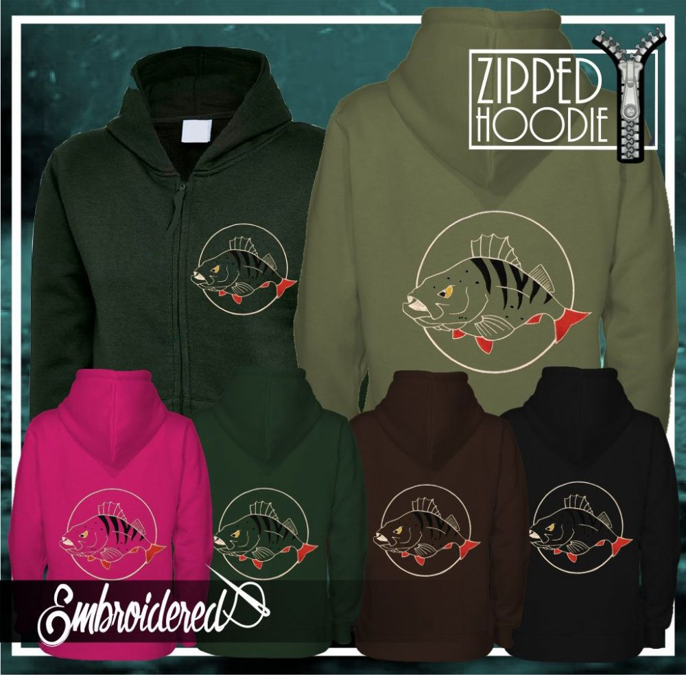 032 EMBROIDERED PERCH ZIPPED HOODIE
